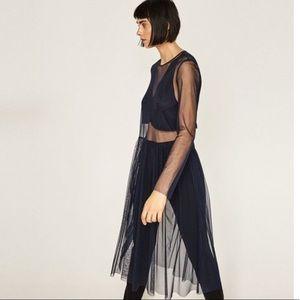 Zara tulle midi dress navy tunic long sleeve top